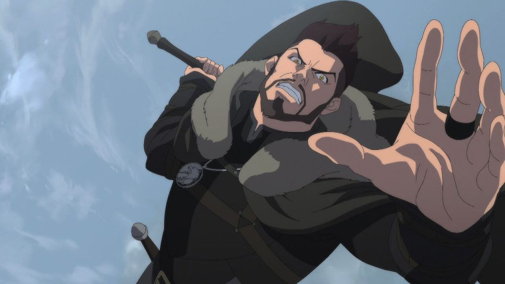 Vasemir - Enrico Silvestrin in The Witcher - Nightmare of the Wolf mentre attacca con la spada